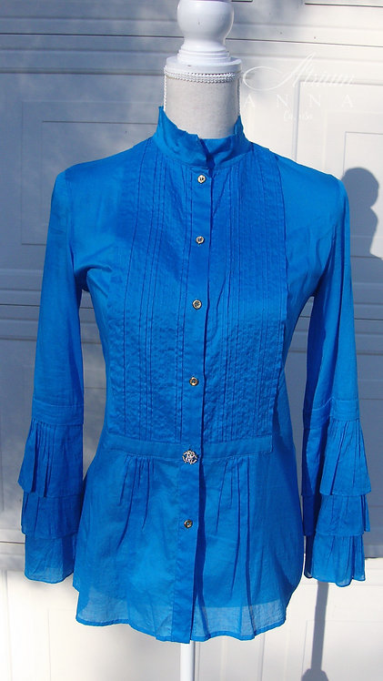 Roberto Cavalli Blue Cotton Ruffled Button-Down Shirt Top
