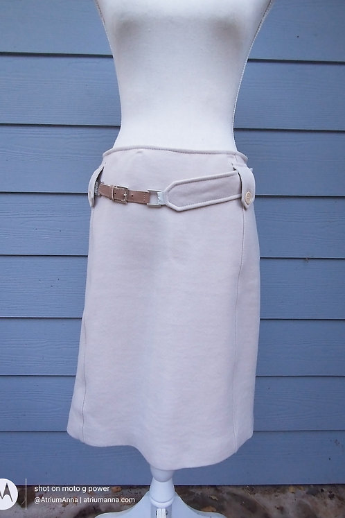 S MaxMara Made in Italy Pure Wool Beige Pencil Skirt with a Built-in Belt, 8