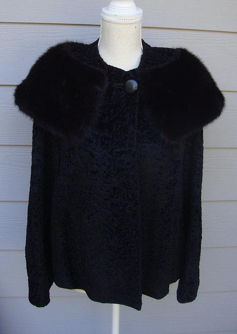 Martins Black Elegant Fur Coat Vtg with Mink Collar