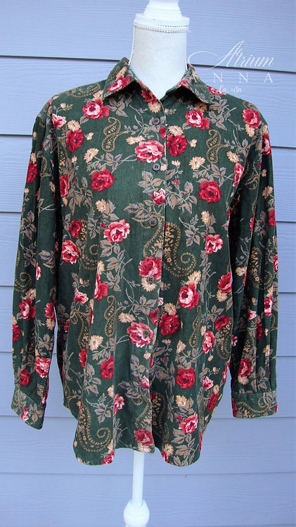 Lemon Grass Velvet Rose Printed 80s Style Button-Down Shirt, M