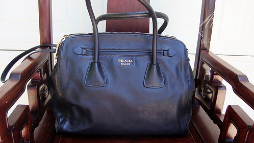 Prada Saffiano Leather Vintage Big Black Tote/Shoulder Purse