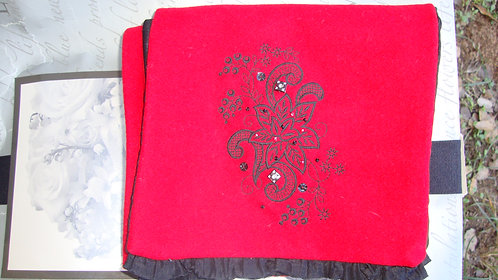 Custom-made red wool embroidered red wool scarf