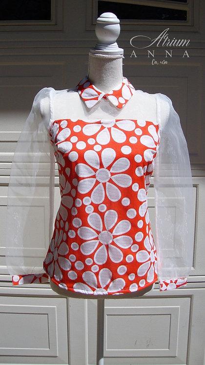 Enlin 70s Style New Big Floral Orange Sheer Sleeves Top, M