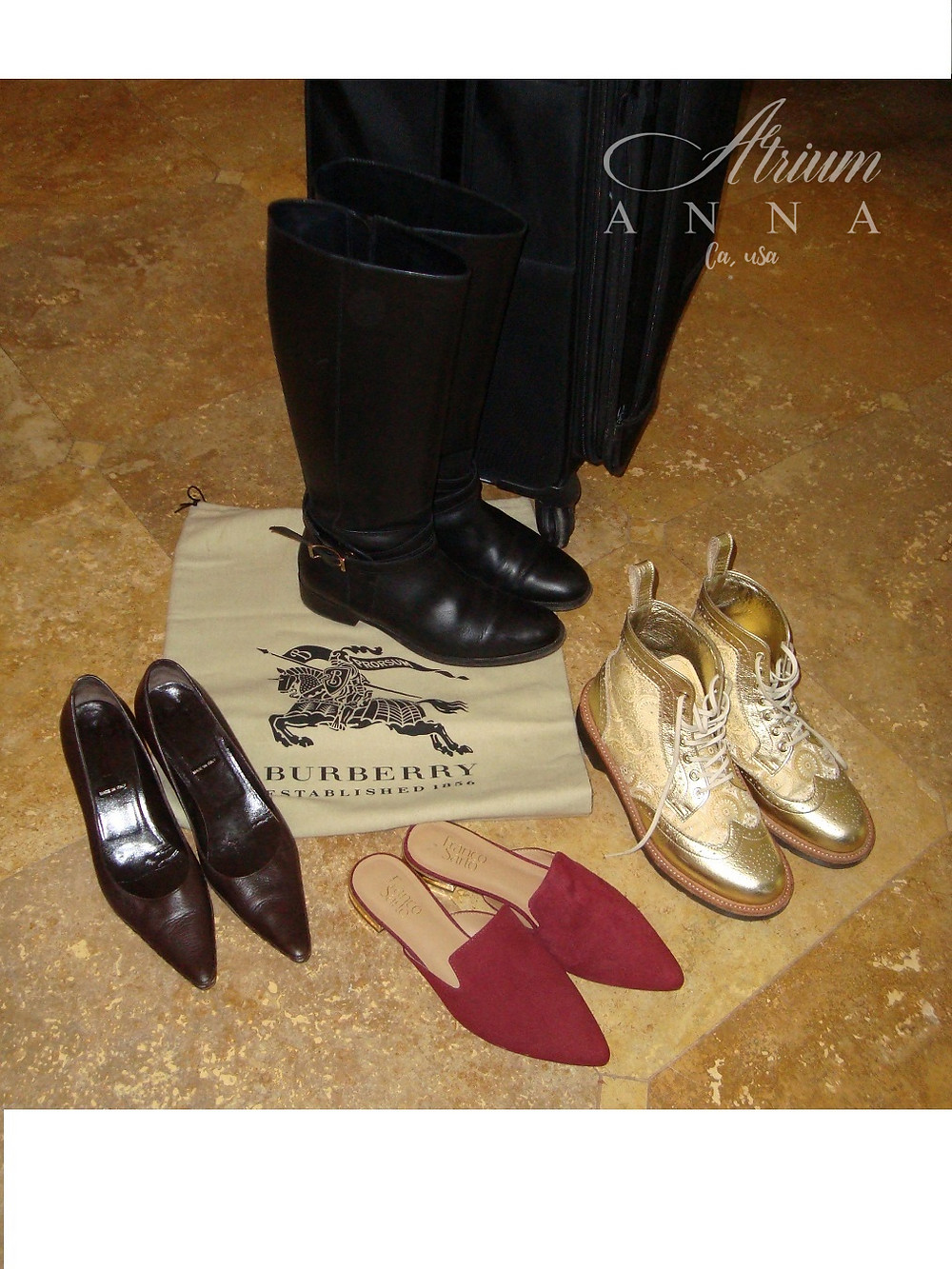 Burberry riding boots, Fendi kitten heels, Doc Martens ankle boots, and Franco Sarto slides