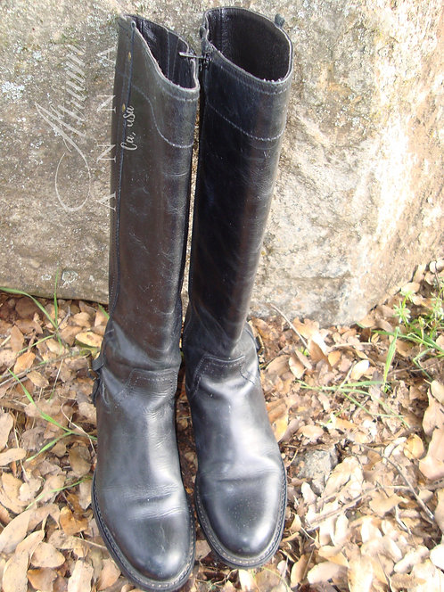 Cordani Italy Black Leather Riding Knee Boots, 8