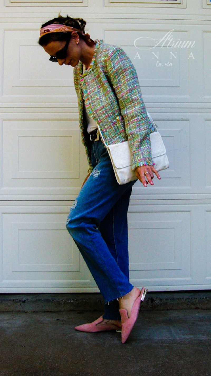 For a more laid back look, combine your most casual pieces with a high-end luxury piece, like this jeans+tee combo with the Chanel buckle jacket. Right on trend with flashy colors, the straight cropped jeans, oversize vintage 90s belt, the silk scarf as headband and sweet suede mules.  Anna wears:Chanel jacket; Sam Edelman jeans, Roccobarocco belt, Gucci vintage purse, Google cotton T-shirt, Gucci vintage sunglasses, Ivanka Trump pink suede mules, and silk vintage scarf.