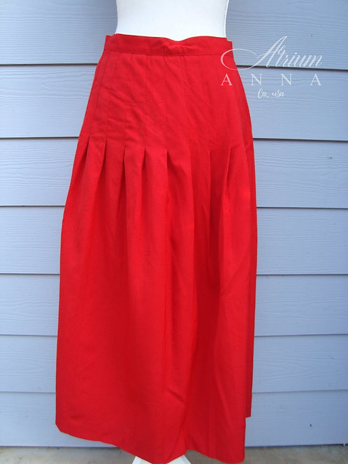 Alcott & Andrews 100% Wool 80s Vintage Red Pleated Skirt