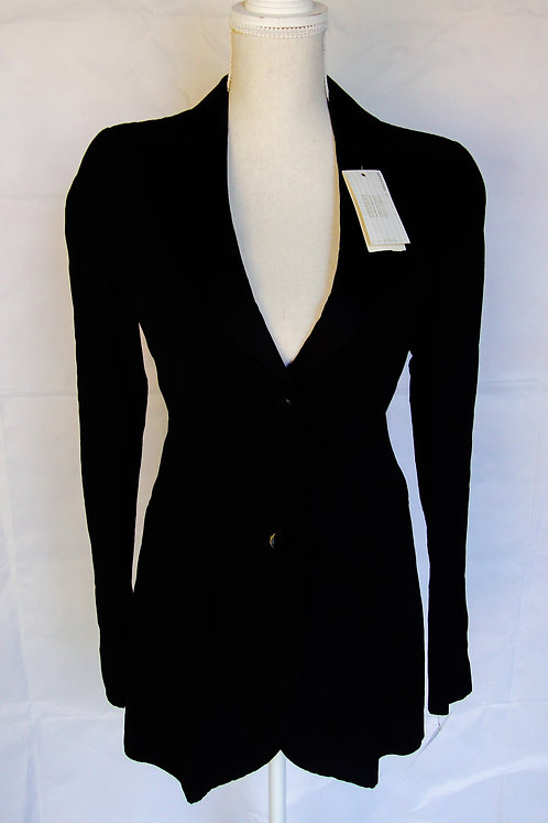 Emporio Armani Black Lurex Sheen Long Tuxedo Jacket, 6