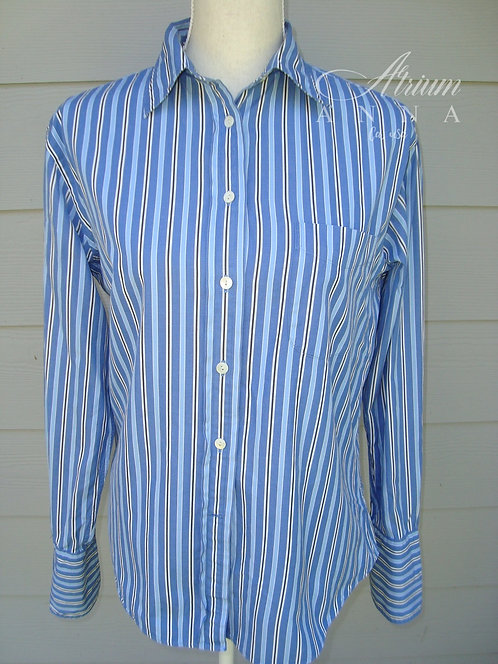 F. by Faconnable Blue Striped Button-Down French Cuff Vintage Shirt