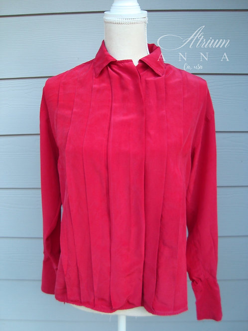 Nordstrom Red Silk Button-Down Shirt with French Cuff
