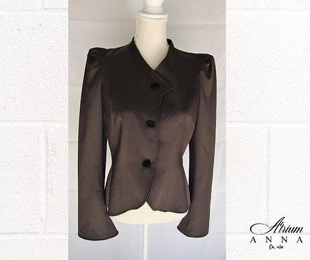 Emporio Armani Brown Vintage 90s Tuxedo Style Dark Brown Bolero Blazer Jacket