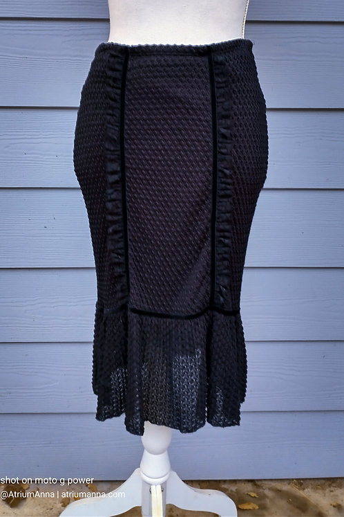 Bisou Bisou by Michele Bohbot black elastic pencil skirt, S