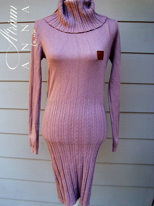 Fendi Vintage Lavender Knit Cashmere, Silk, and Wool Blend Mock Neck Dress