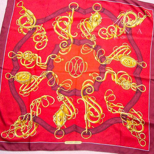 Hermés Paris Red Ironwork Lion Head Silk Vintage Scarf