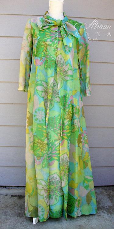 Green Vtg Tropical Flowers Theme Long Dress and Blazer Set, L