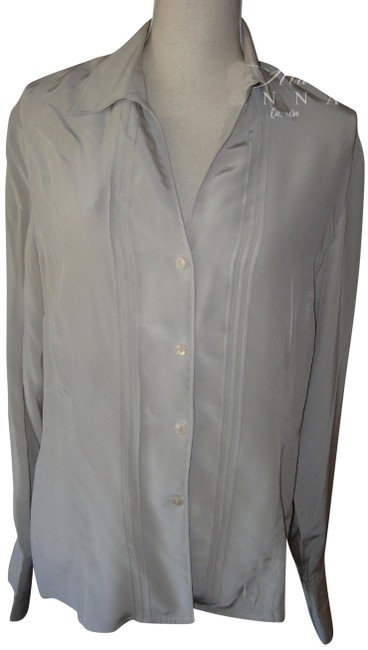 Jones Wear Light Gray Silk Button Down Shirt