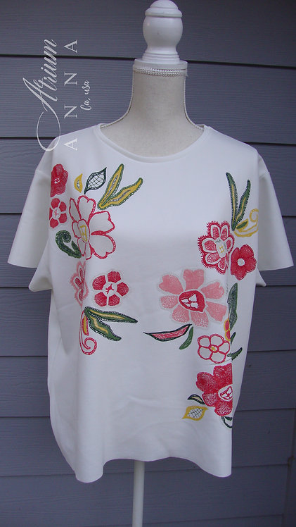 Zara Polyester White Painted Floral Tee