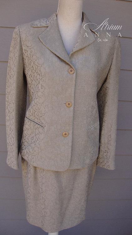 Emanuel Ungaro Cut Velvety Filagree 3D Pattern Taupe Skirt Suit, Skirt & Blazer/