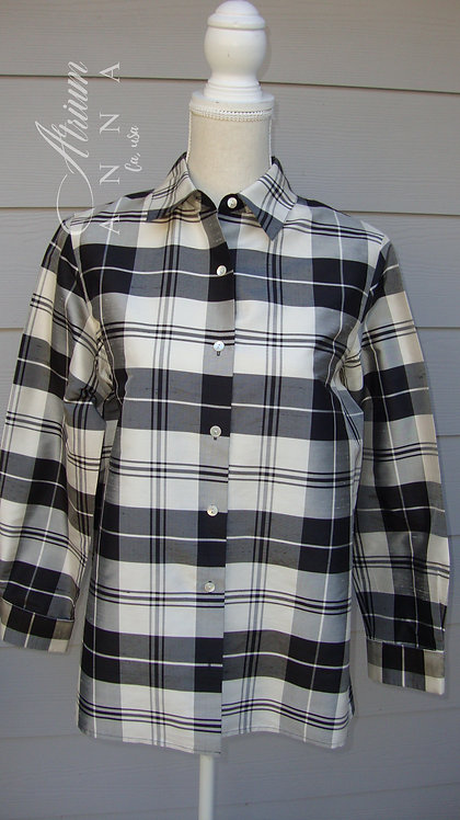 80s Talbots Petites Black and White Checkered 100%Silk 3/4 Sleeves Shirt