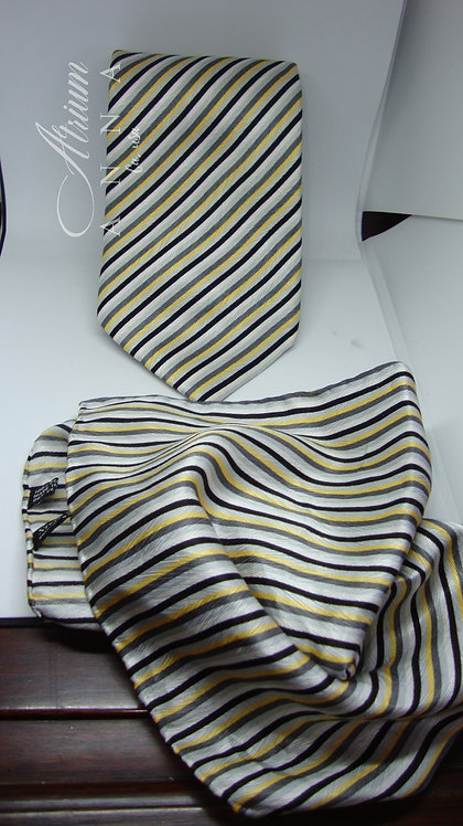 Stefano Ricci 100% Silk Striped Necktie with Matching Pocket Square
