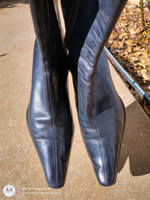 Konstantin Starke Black Leather Zip-Up Ankle Boots With High Heels, EU39, US 8.5