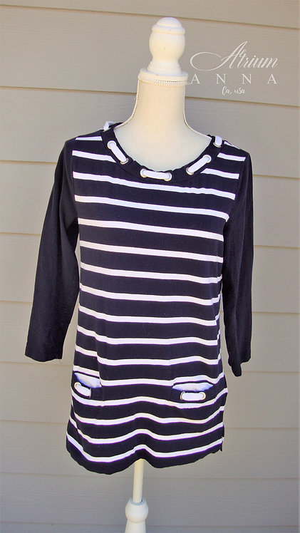 Jones New York Sailor Striped Navy and White Cotton Top