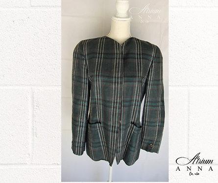 Alan Austin Beverly Hills Green Pure Linen Blazer Jacket