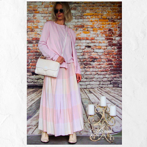 Evan Picone Pastel Pink and Orange A-line Long Pleated Vintage 80s Skirt