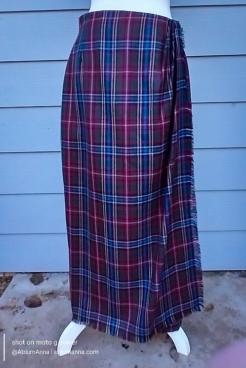 Liz Claiborne Wool Plaids Cozy Long Wrap Skirt, 12