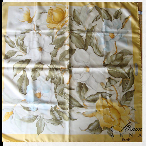 Salvatore Ferragamo Yellow Silk Flower Print Scarf with Box