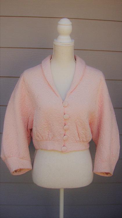 Milanaise Opal Neyret Paris Pink Quilted Vintage 60s Bolero