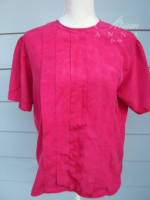 WTC Waltonchain Red Silk Front Pleated Short Sleeves Blouse