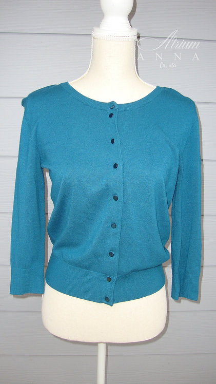 Cable and Gauge Turqoise 3/4 Sleeves Rayon Blend Button Cardigan, S