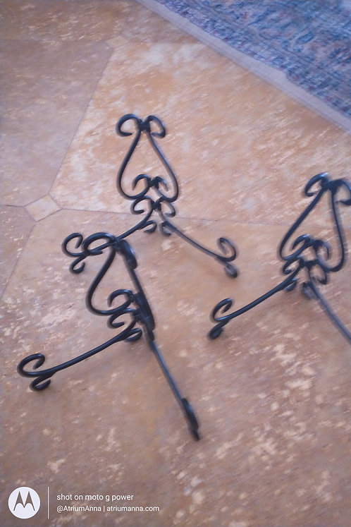 Set of 3 classic iron stands for paintings or plates
