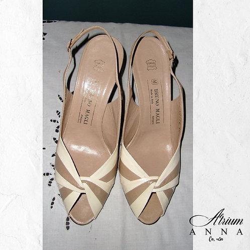 Bruno Magli Tan/Beige Wedding Formal Leather Open Toe Sandals, 10B