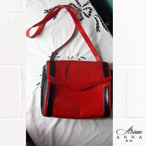 Charles Jourdan Paris Rad and Black Vtg Leather Shoulder Bag