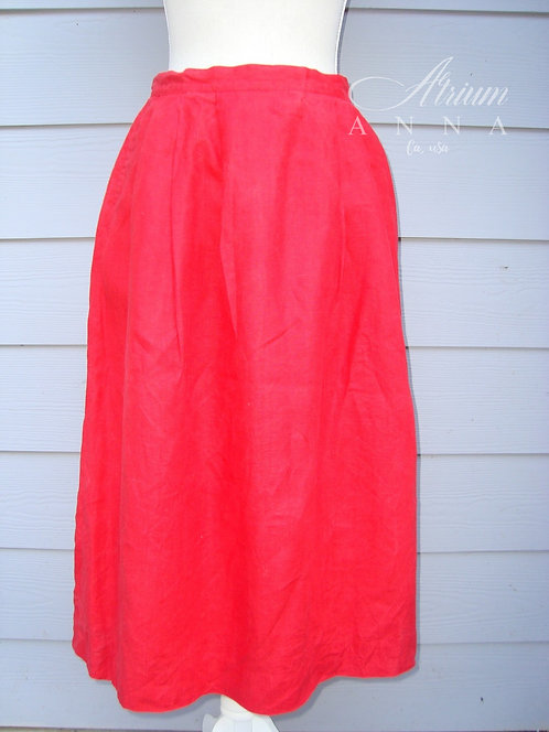 WTC Waltonchain Red Linen A-Line Above Ankle Length Vintage 80s Skirt
