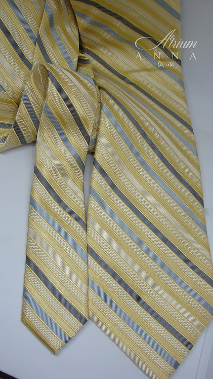 Calvin Klein Yellow Striped Silk Tie