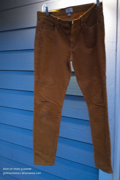 J. Crew 'Toothpick' Mustard Yellow Corduroy Skinny Pants, 30
