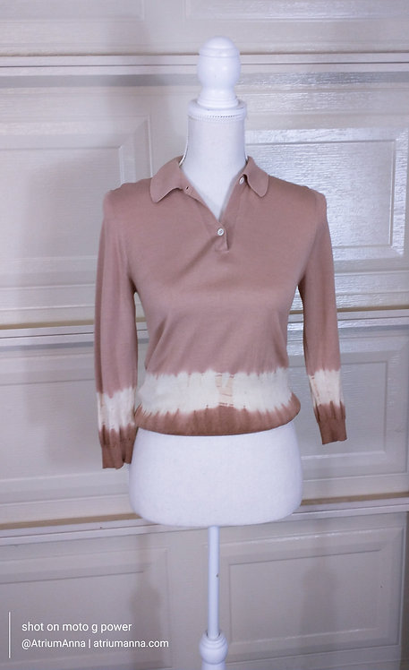 Prada Cappuccino Wool and Silk Lightweight Tie-Dye Top, 42