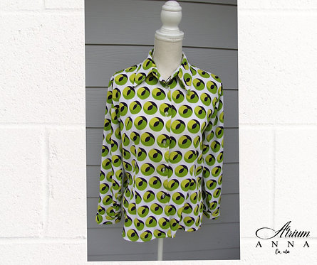 Samba 70s Vtg Neon Green Pattern Geometrical Button-Down Shirt