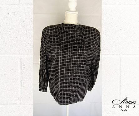 Giorgio Armani Black and Beige Square Pattern Silk Button-Down Round Neck Shirt