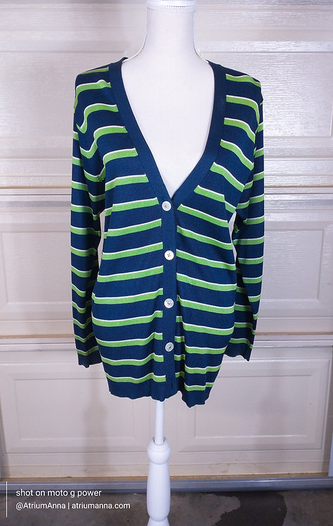 Michael Kors '90s Green and Navy Striped Oversized cardigan Sweater