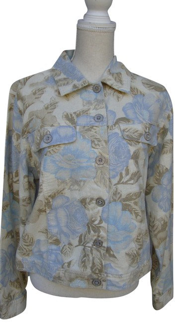 Bill Blass Floral Printed Linen Jean Jacket