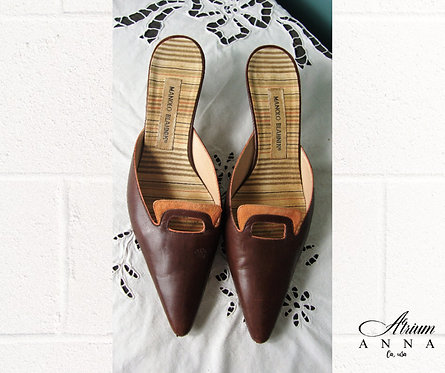 Manolo Blahnik Brown Vtg 90s Heels/Slides