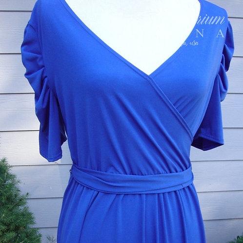 NY Collection Blue 80s V-neck Shift Dress