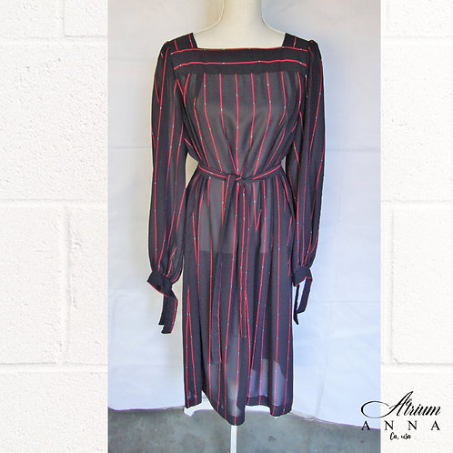 Chez California Black and Red Striped Geometrical Sheer Maternity Style Dress fr