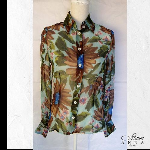 Dolce and Gabbana Sheer Flower Printed Silk Light Button-Down Shirt