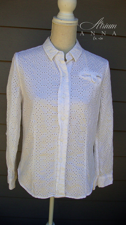 Liz Claiborne White Cotton Button-Down Shirt with Holes, 12