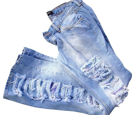 Iceberg Jeans Flare Light Wash Distressed Ripped Low Rise Jeans, W30 L32